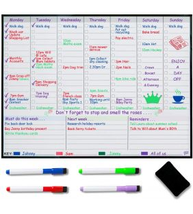 Magnetic Weekly Planner Fridge Whiteboard - Weekly Meal Plan
